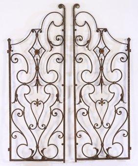 Pair Hand Wrought Iron Garden Gates 1920