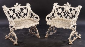 Pair Cast Iron Sleigh Form Garden Seats 1920