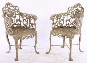 Pair Cast Iron Adams Style Garden Chairs