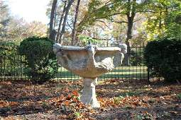 MONUMENTAL CARVED MARBLE ACANTHUS GARDEN URN
