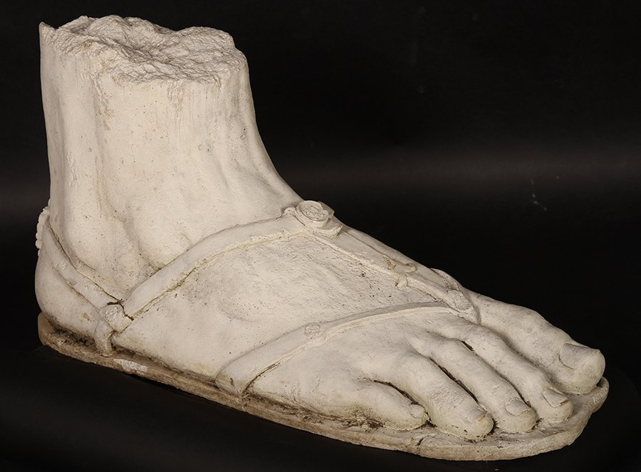 MONUMENTAL CAST STONE NEOCLASSICAL FOOT FRAGMENT