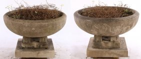 Pair Carved Limestone Garden Urns Frank Wright