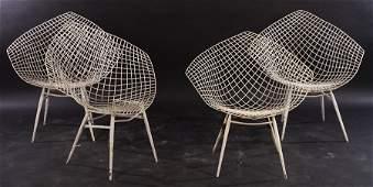 FOUR IRON GARDEN CHAIRS ATTR. BERTOIA KNOLL 1970