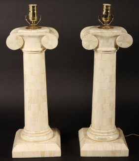 Pair Tessellated Bone Column Form Table Lamps