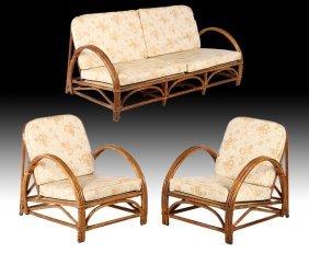 3 Pc Vintage Rattan Set Sofa Armchairs 1940