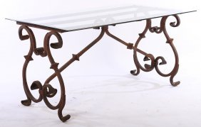 Regency Style Iron Table Beveled Glass Top