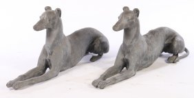 Pair Of Life Sized Recumbent Lead Greyhounds
