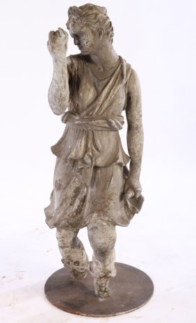 19th Cent. Neoclassical Lead Figure Of Diane