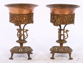 Pair Oscar Bach Bronze Wrought Iron Planters 1910
