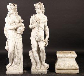 Similar Pair Cast Stone Garden Figures Male Woman