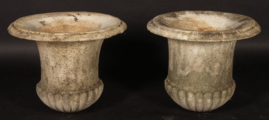 PAIR 19TH CENT. CARVED MARBLE CAMPANA URNS