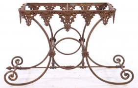 19th Cent. French Cast Wrought Iron Bakers Table
