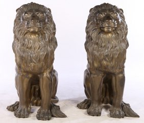 Monumental Pair Of Bronze Seated Lions