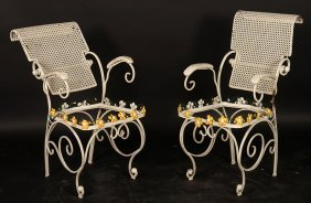 Pair French Wrought Iron Arm Chairs 1960