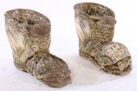 Pair Cast Stone Boot Form Garden Planters