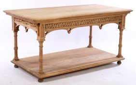 Carved Oak Gothic Revival Conservatory Table