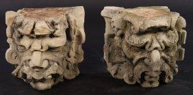 Lot 2 Carved Limestone Gargoyle Faces 1910