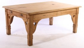 Gothic Revival Carved Pine Table Circa 1880