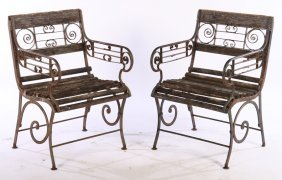 Pair Wrought Iron Garden Chairs Slat Back