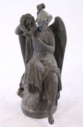 19th Cent. Signed Zinc Winged Figure Natural Base
