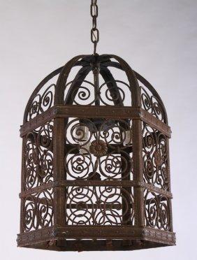 Wrought Iron Six Sided Lantern Scroll Decoration