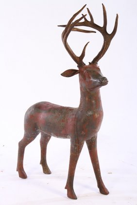 Unusual Cast Bronze Deer Applied Natural Horns
