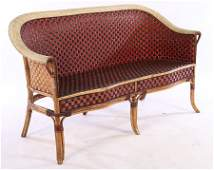 VINTAGE FRENCH WICKER SETTEE WOVEN BACK  SEAT