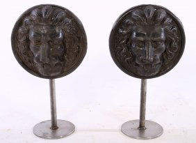 Pr 19th Cent. French Cast Iron Lion Face Roundels