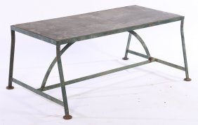 Wrought Iron Potting Plant Table Slate Top 1940