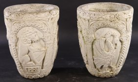 Pair French Cast Stone Garden Pots Or Vessels