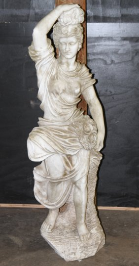 Carved Marble Garden Statue Of A Young Maiden