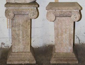 Pair Carved Marble Corinthian Form Capitals