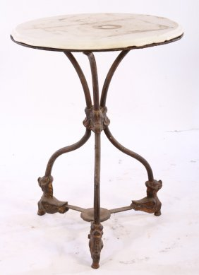 Iron Marble Top Bistro Table 1880
