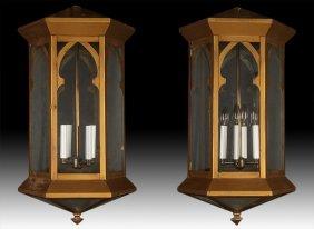 Pair Metal Gothic Style Hanging Lanterns C.1930