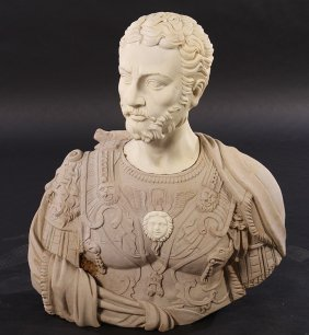 Carved Stone & Marble Roman Style Bust