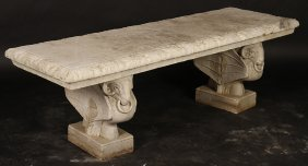 Carved Marble Garden Bench Winged Ram Base C.1900