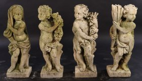4 Early 20th C. Stone Garden Figures 4 Seasons