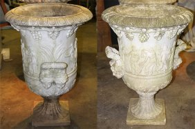 Pair Carved Marble Twin Handled Urns