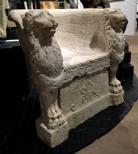 Italian Carved Marble Throne Chair Lions C. 1880