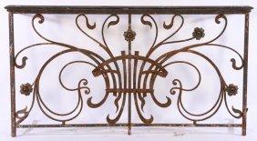 Art Nouveau Iron Balcony Panel Bronze Rail 1910