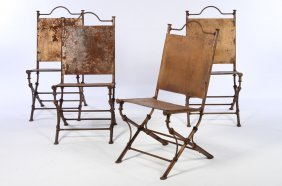 4 Wrought Iron Garden Chairs J.michel Frank Style