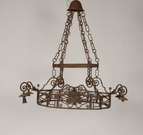 Continental 4 Arm Wrought Iron Chandelier 8 Light