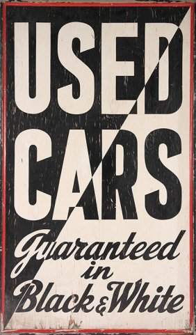 Painted Wood Auto Advertising Sign 1940-1950
