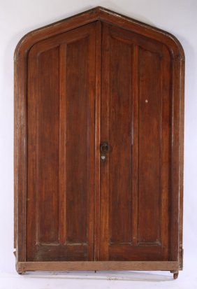 Pair Mahogany Gothic Entrance Doors In Frame 1900