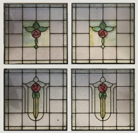 4 Stained Glass Windows Foliate Theme C.1900
