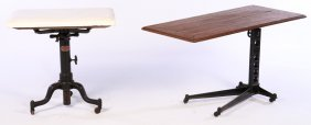 Two Industrial Adjustable Tables Iron Marble
