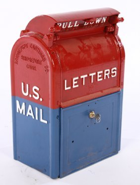 Labeled Bridgeport Casting Cast Iron Postal Box
