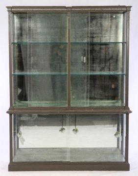 Regency Painted Vitrine Mirrored Back Plinth Base
