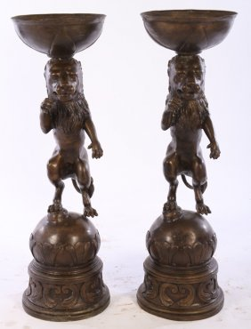 Pair Bronze Decorated Planters With Lions
