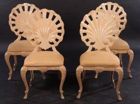Set 4 Cast Aluminum Shell Form Chairs